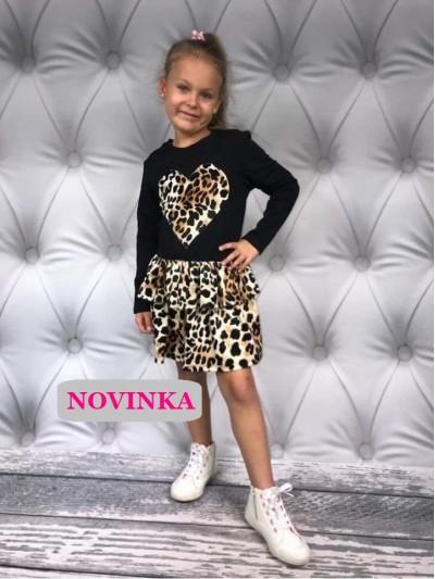 Šaty s leopardí sukní a srdcem černé