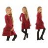 Dívčí šaty s volány bordó