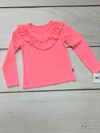 Tričko s volánkem neon růžové