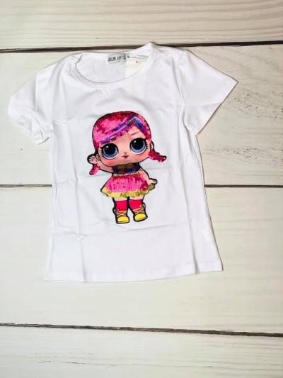Tričko Lol pink s flitry bílé