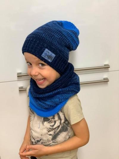 Chlapecký teplý zimní set čepice a nákrčník modrý