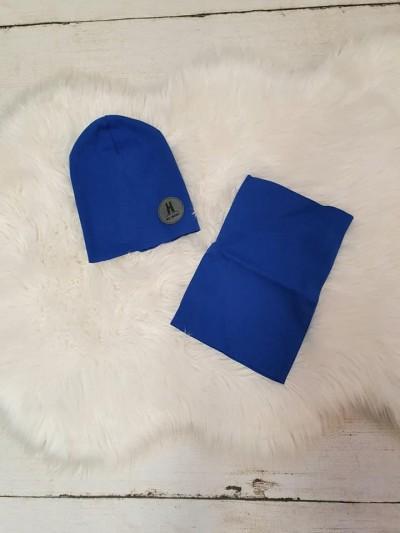 Set vyšší čepice a nákrčník modrý