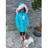 Dívčí delší zimní bunda tyrkysová