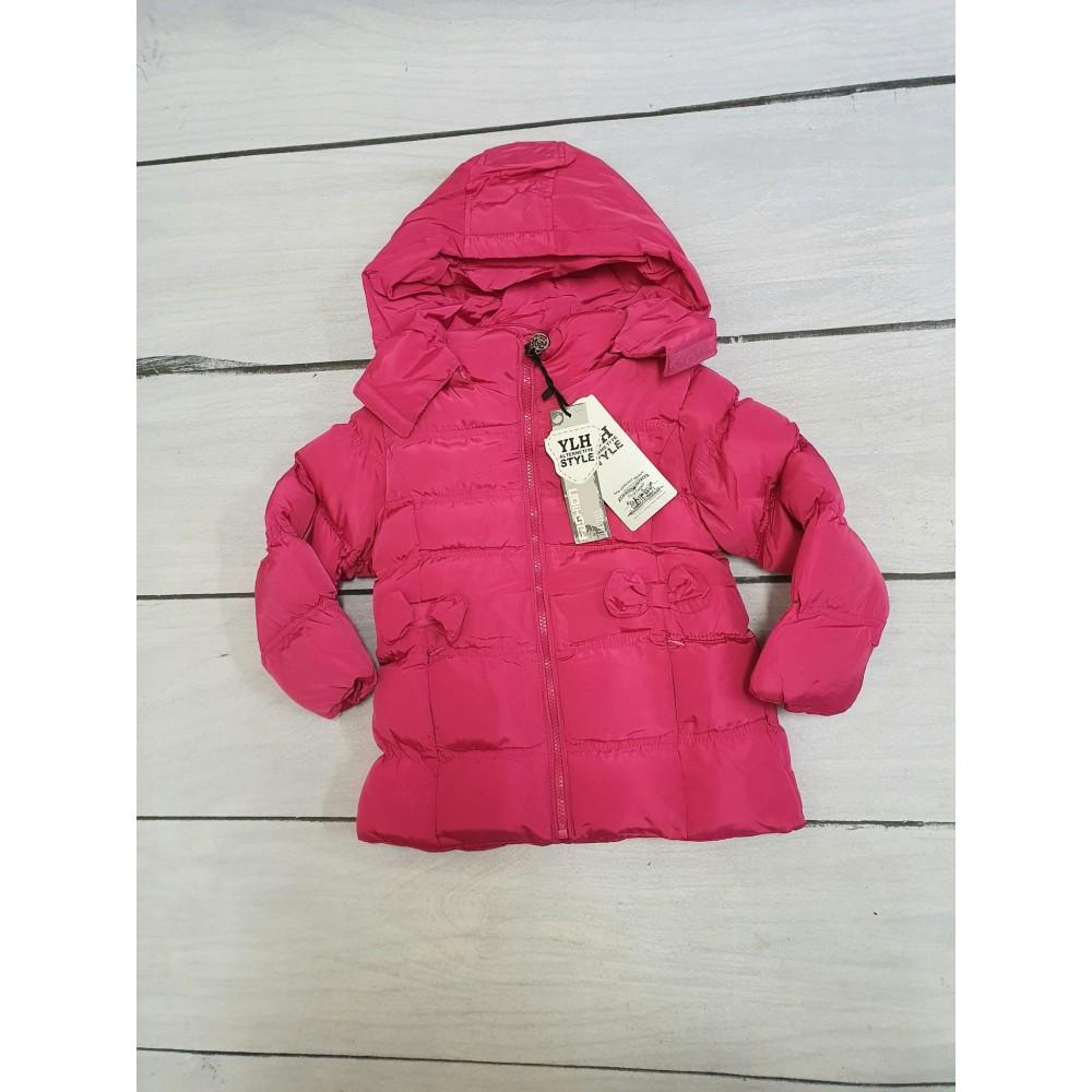 Podzimní dívčí bunda křivák sytě růžová (104)