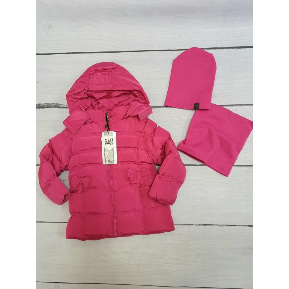 Podzimní dívčí bunda křivák sytě růžová (116)
