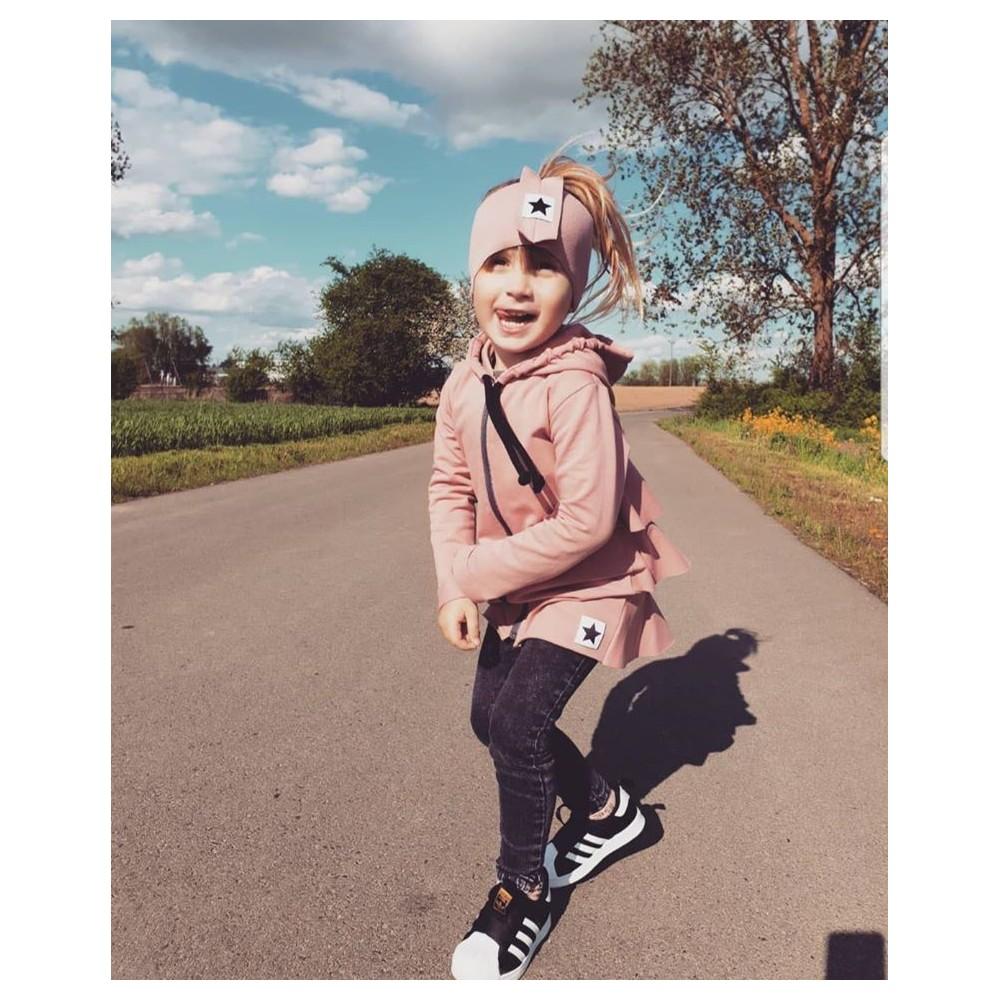 Podzimní dívčí bunda křivák pudrově růžová (92)