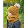 Dětský teplý zimní set čepice a nákrčník hořčicový