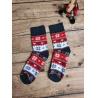 Dámské froté ponožky Norský vzor červeno-šedé