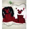 Dívčí šaty Mickey karo vzor bílé