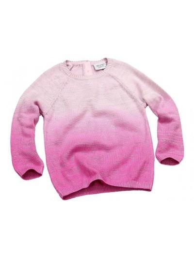 Dívčí stínovaný svetřík růžovo-bílý