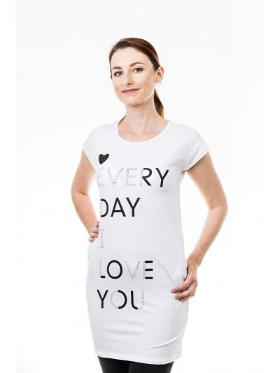 Delší tričko s nápisy bílé