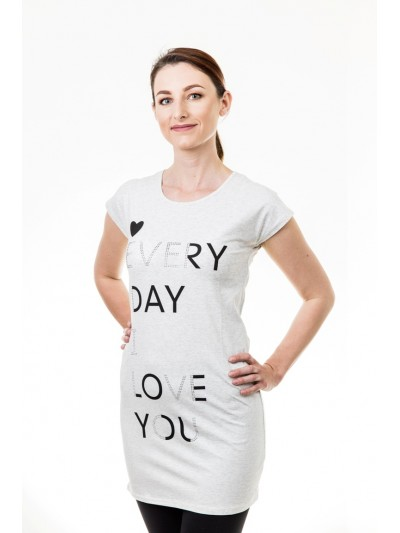 Delší tričko s nápisy světle šedé