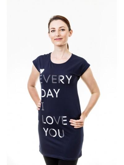 Delší tričko s nápisy tmavě modré