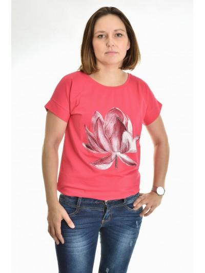 Tričko květ s kamínky tmavě růžové