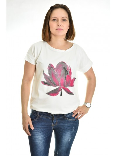 Tričko květ s kamínky bílé