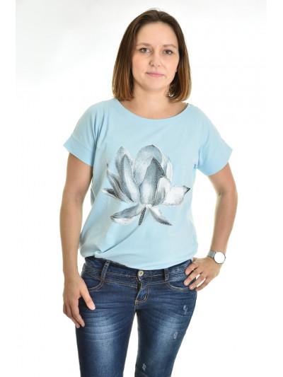 Tričko květ s kamínky světle modré