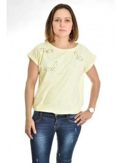 Dámské tričko mašličky z perliček žluté