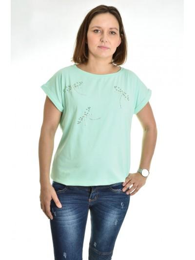 Dámské tričko mašličky z perliček mint
