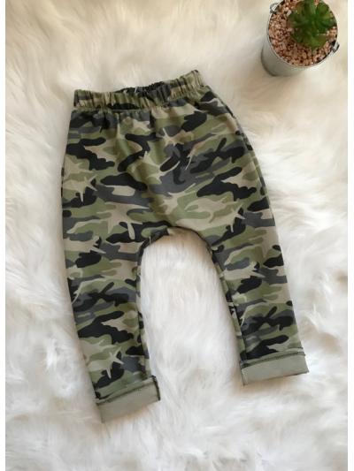Chlapecké baggy kalhoty/tepláky army zelené