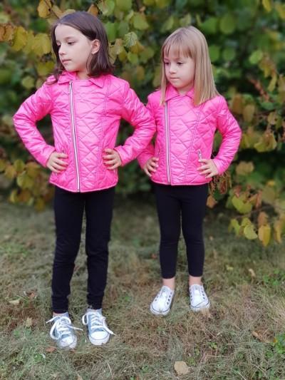 Dívčí bunda křivák sytě růžová
