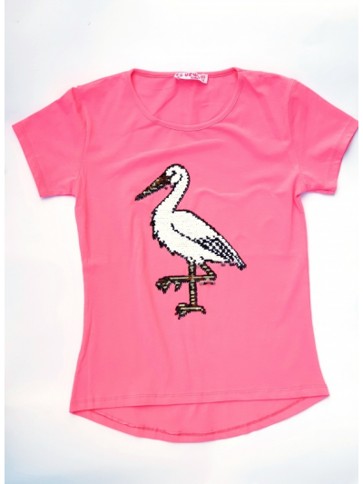 Tričko měnící flitry čáp růžové