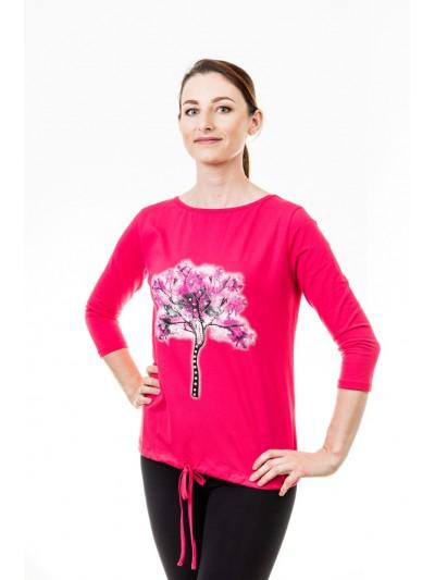 Tričko strom s kamínky tmavě růžové