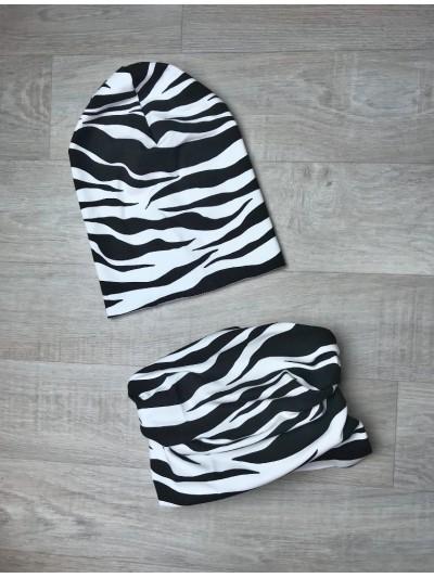 Vyšší čepice s nákrčníkem zebra