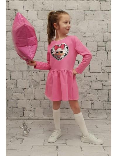 Šaty Lol dl.rukáv růžové