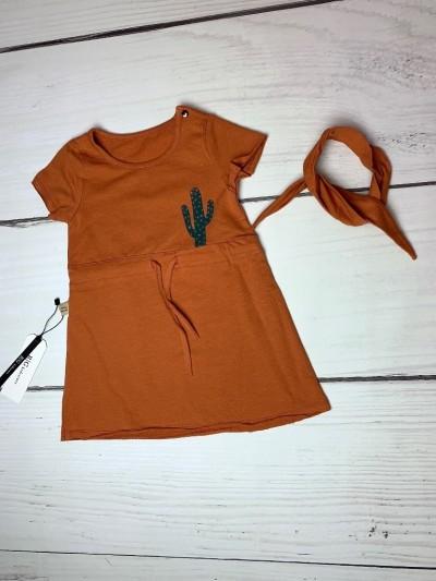Dívčí set Kaktus cihlový - šaty a čelenka
